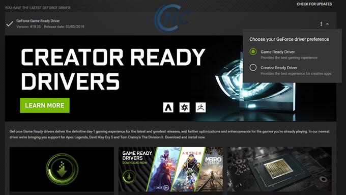 Nvidia Game Driver khác gì Creator Driver