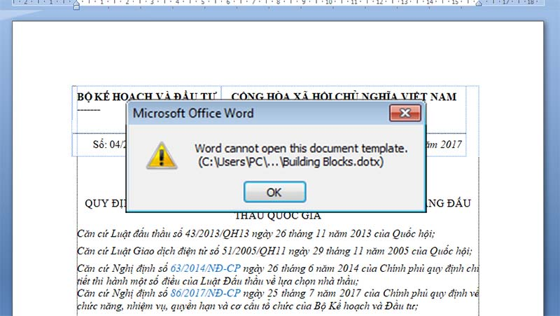 Lỗi đánh số trang Word cannot open this document template